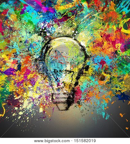 Concept of a new creative idea with drawn and colored bulb with bright colors