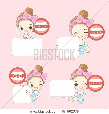 cartoon woamn thumb up with teeth whitening great for healthy concept
