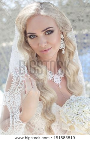 Beautiful Bride With Fashion Veil On Wedding Hairstyle. Closeup Portrait Of Young Gorgeous Bride. Ma
