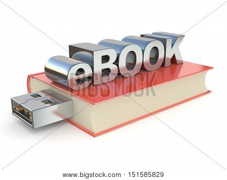 eBook metal red book. 3D render illustration isolated on white background