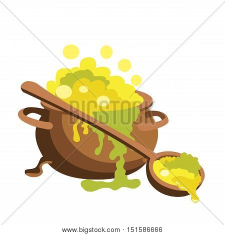 Magic pot vector illustration isolated on white background.