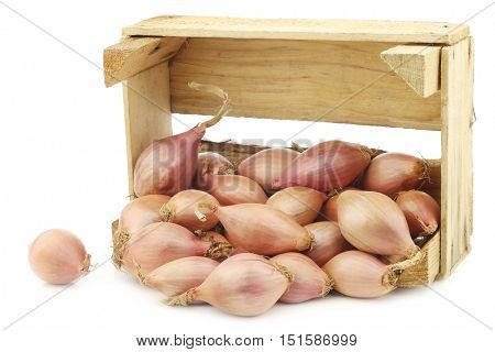 fresh dutch shallots in a wooden box on a white background
