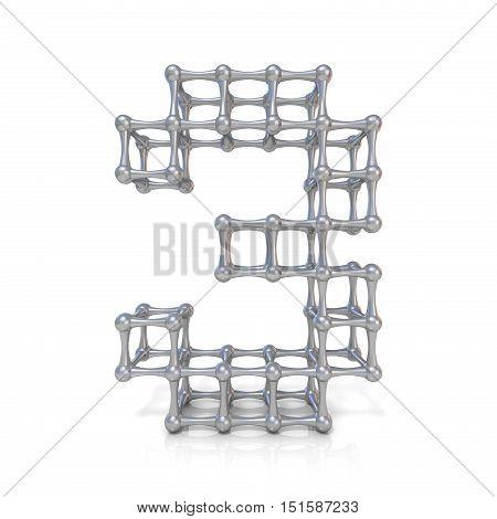 Metal Lattice Digit Number Three 3 3D