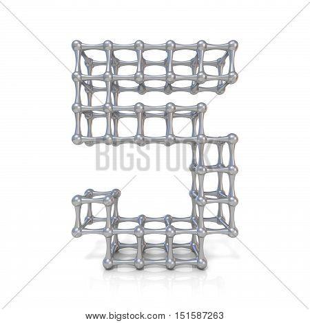 Metal Lattice Digit Number Five 5 3D