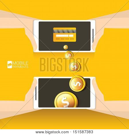Flat design style vector illustration of modern smartphone with processing of mobile payments from credit card on the screen. Internet banking concept. wireless money transfer.