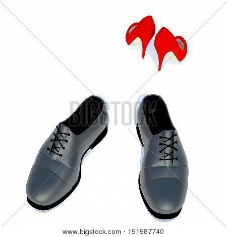 Women's shoes and men's shoe symbol photo for separation conflict. 3D illustration