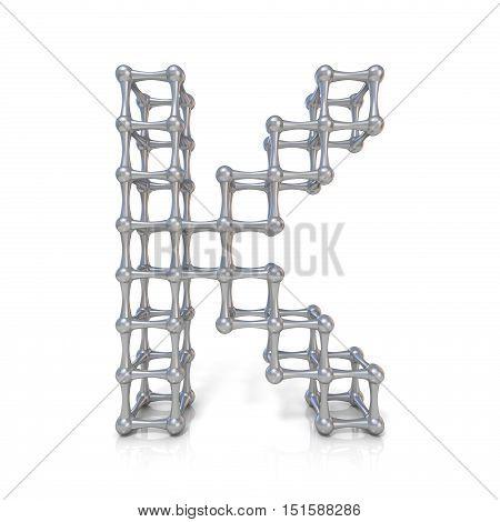 Metal Lattice Font Letter K 3D