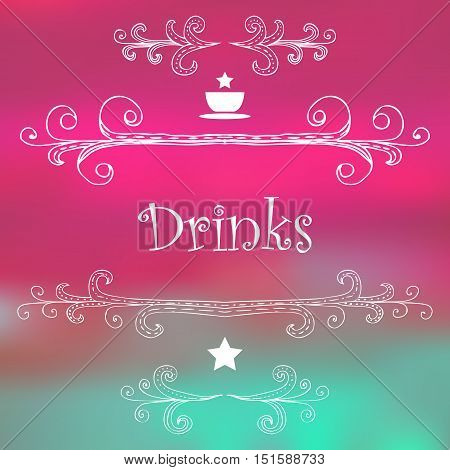 Drinks. Hand-drawn monograms and lettering. Vector EPS10 illustration