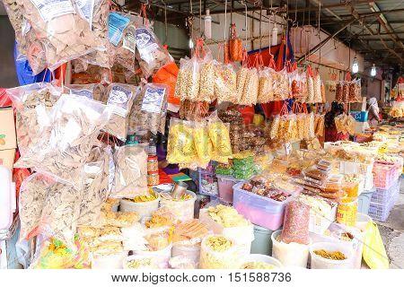Chips variety kerepek selling at market stall shop