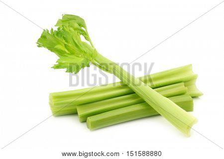 fresh celery stems on a white background