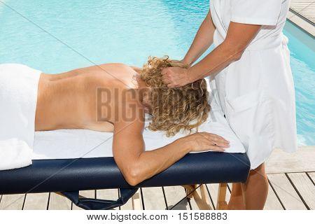 Fresh And Beautiful Blonde Woman Getting Head Massage