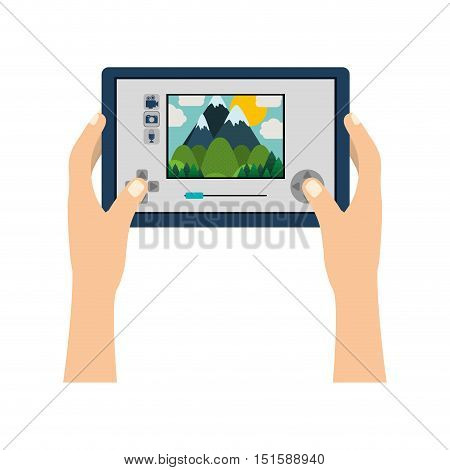 touch screen for drone camera with hands vector illustration