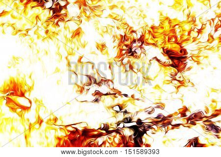 Fire flames background, LAVA structure. Computer collage. Earth Concept