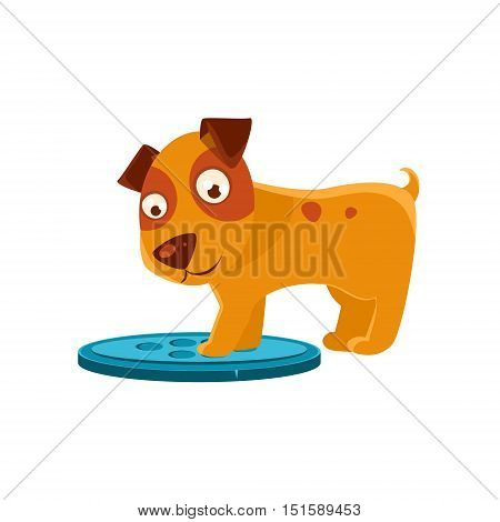 Curious Puppy Stepping On Trapdoor. Dog Everyday Activity Childish Drawing Isolated On White Background. Funny Animal Colorful Vector Sticker.