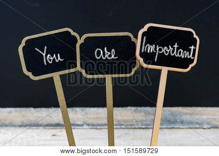 Motivational Message You Are Important Written With Chalk