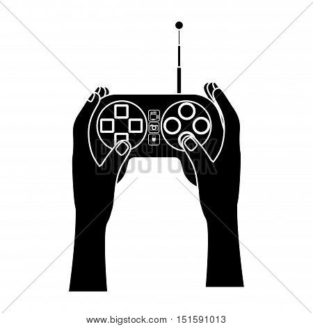 silohuette hands with remote control with antenna vector illustration