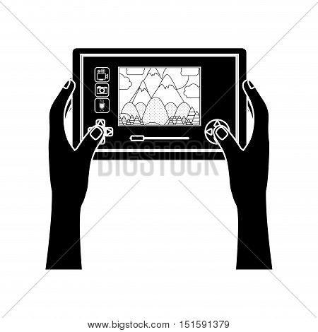 silhouette touch screen for drone camera with hands vector illustration