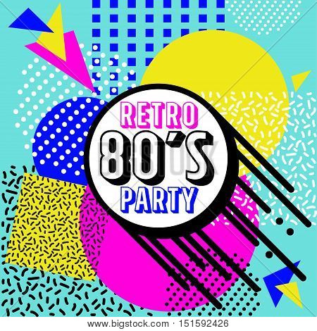 80's Retro Colorful geometric background. Retro vector graphic party poster. Eighties style fashion style graphic template. Easy editable for Your design.