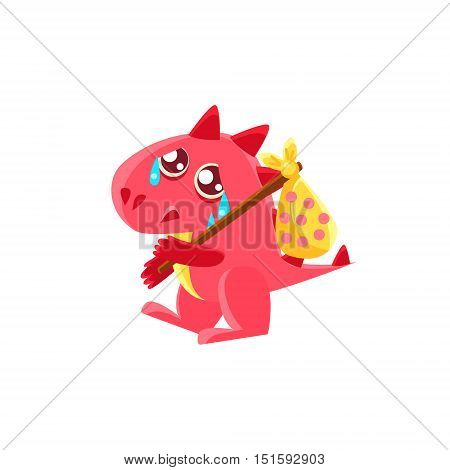 Red Dragon Leaving WIth Sack On Stick Illustration. Silly Childish Drawing Isolated On White Background. Funny Fantastic Animal Colorful Vector Sticker.