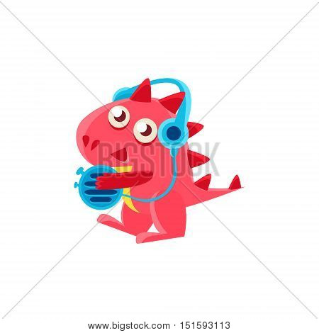 Red Dragon In Headphones Illustration. Silly Childish Drawing Isolated On White Background. Funny Fantastic Animal Colorful Vector Sticker.