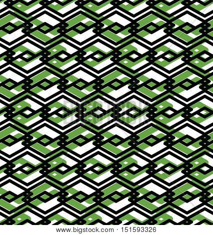Green abstract seamless pattern with interweave lines. Vector ornament background visual effect geometric tracery with rhombs.