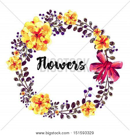 Hand drawn round frame of watercolor summer flowers. With red bow. Element for design of invitations, logo, banners, greeting card for birthday, mother's day. On white background. Flowers