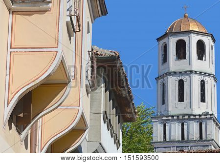 PLOVDIV, BULGARIA 09 21 13 :Bell tower of Church of Sveti Konstantin and Elena It is considered to be among the oldest churches in the city. It was built in 337 at the sight of an ancient pagan temple