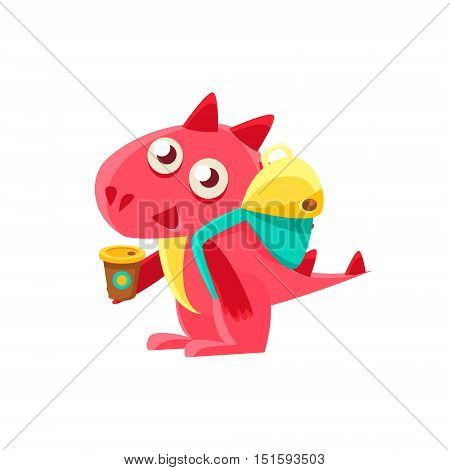 Red Dragon With Coffee And Backpack. Silly Childish Drawing Isolated On White Background. Funny Fantastic Animal Colorful Vector Sticker.