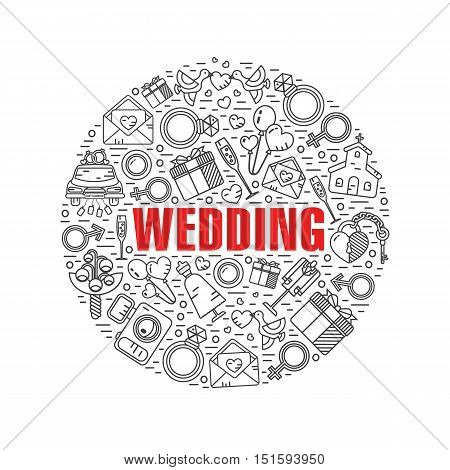 Vector color modern line style illustration of wedding. Cake with bride and groom, invitation, bridal bouquet, rings, champagne, lock and key, birds, car, balloon, camera. Round shape icons concept.