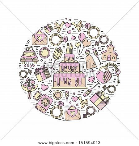 Vector modern line style icons concept of wedding. Cake with bride and groom, invitation, bridal bouquet, rings, champagne, lock and key, birds, car, balloon, camera. Round shape illustration.