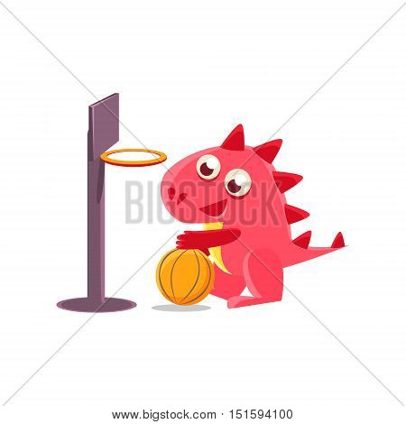 Red Dragon Playing Basketball Illustration. Silly Childish Drawing Isolated On White Background. Funny Fantastic Animal Colorful Vector Sticker.