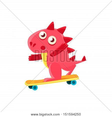 Red Dragon Skatebording Illustration. Silly Childish Drawing Isolated On White Background. Funny Fantastic Animal Colorful Vector Sticker.