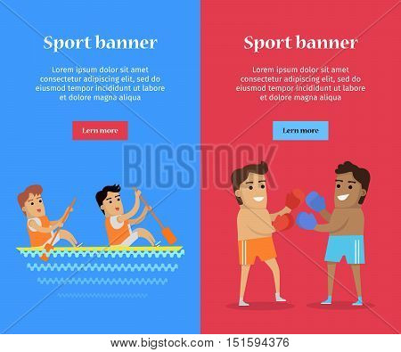Boxing and canoe rowing sports banners. Two man in sports shorts and boxing gloves. Two man in sports uniform rowing in canoe on river. Species of event. Summer games background.