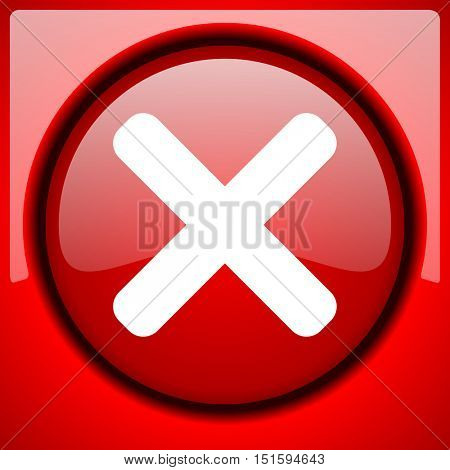 cancel red icon plastic glossy button