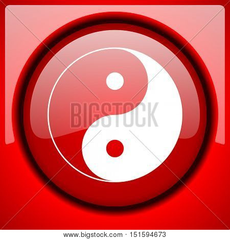 ying yang red icon plastic glossy button