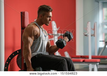 Handsome young man training with dumbbells in gym
