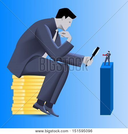 Corporate vs small business competition concept. Huge businessman sitting on pile of gold coins looks via magnifier on brave small businessman in boxing gloves. Vector illustration.