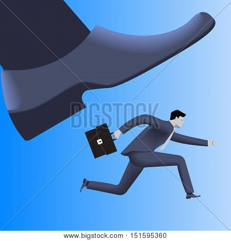 Corporate vs small business competition concept. Huge foot of corporate business trying to smash small running businessman with case. Vector illustration. Use as template logo background.
