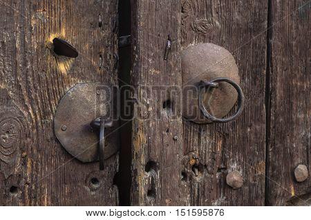 Detail of an old door knob. Closeup.