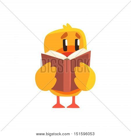 Duckling Reading A Book Cute Character Sticker. Little Duck In Funny Situation Childish Cartoon Graphic Illustration On White Background.
