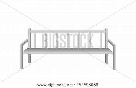 Metal park bench. Silver metal bench icon. One isolated outdoor bench. City object in flat. Simple drawing. Isolated vector illustration on white background.