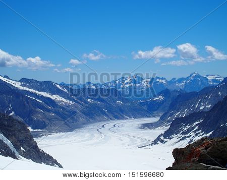 The Aletsch Glacier, the largest glacier in the Alps, Switzerland