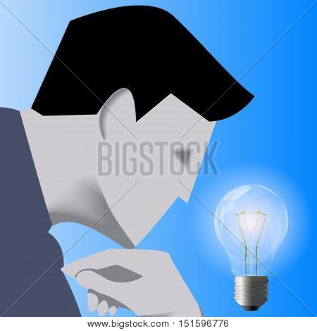 Idea born business concept. Pensive businessman in business suit looks on glowing light bulb. Concept of innovation, solution, idea born. Vector illustration. Use as template, logo, background