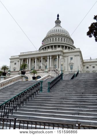 The eastern facade stairs of the United States Capitol Building, in Washington DC.