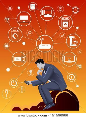 Internet of things business concept. Pensive businessman in business suit with smart phone sitting on the cloud trying smart home concept and developing business strategy for new business field.