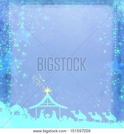 Christian Christmas nativity scene of baby Jesus in the manger , raster