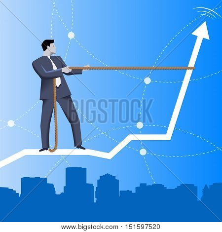 Trend taming business concept. Confident businessman in business suit riding on back of rising graph over the city.. Vector illustration. Use as template, logo, background or other design.