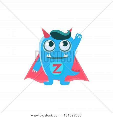 Superhero Blue Monster With Horns And Spiky Tail. Silly Childish Drawing Isolated On White Background. Funny Fantastic Animal Colorful Vector Sticker.