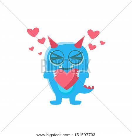 Blue Monster With Horns And Spiky Tail Holding Heart. Silly Childish Drawing Isolated On White Background. Funny Fantastic Animal Colorful Vector Sticker.