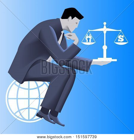Work life balance business concept. Pensive businessman in business suit sitting on the globe and holding scales with family symbol on left plate and dollar symbol on right plate. Vector illustration.